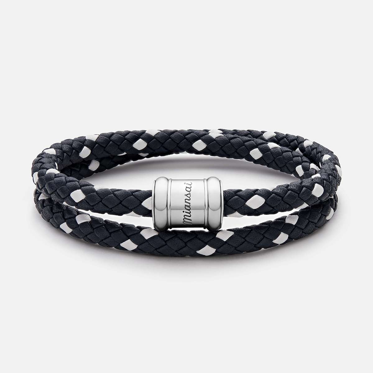 mens bracelets two-tone leather casing bracelet, silver ehhrgdn