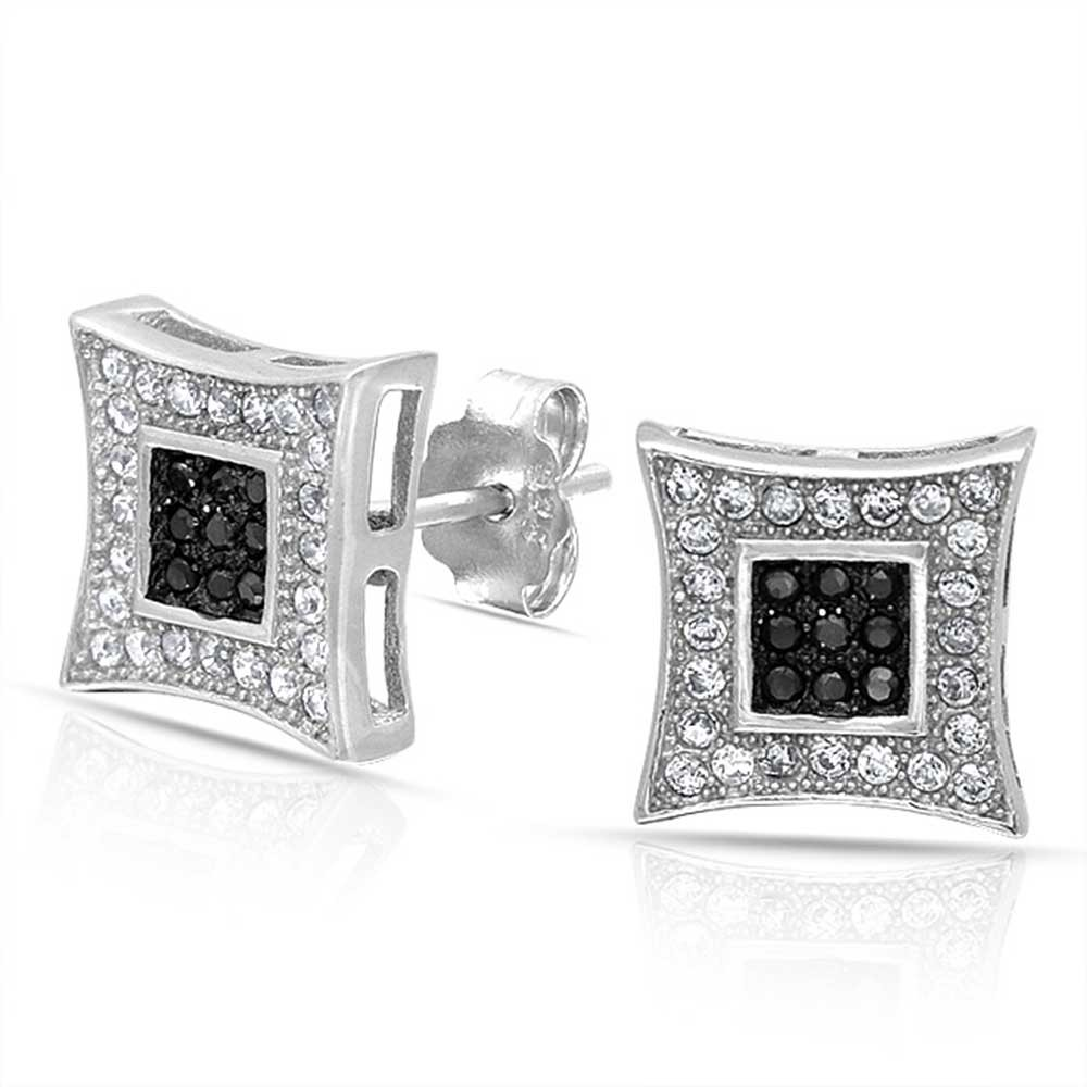 mens earrings bling jewelry black white micro pave cz mens kite stud earrings 925 silver  10mm yldxtpi