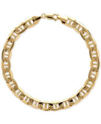 mens gold bracelets menu0027s beveled marine link bracelet in italian 10k gold ungerja