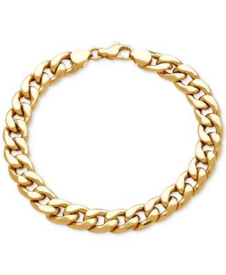 mens gold bracelets menu0027s heavy curb link bracelet in 10k gold yfmttth