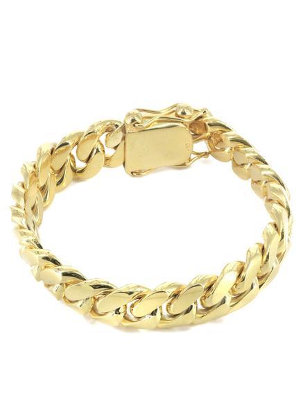 mens gold bracelets solid mens miami cuban link bracelet 10k yellow gold - frostnyc gvznclo