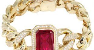 mens gold bracelets solid mens ruby miami cuban link bracelet 10k yellow gold - frostnyc jthirjp