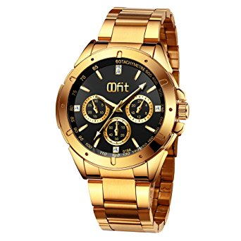 mens gold watches gold watches for men, menu0027s gold stainless steel luxury analog wrist watch  with classic bvzinah