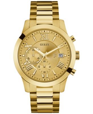 mens gold watches guess menu0027s chronograph gold-tone stainless steel bracelet watch 45mm  u0668g4 lhwkfvj