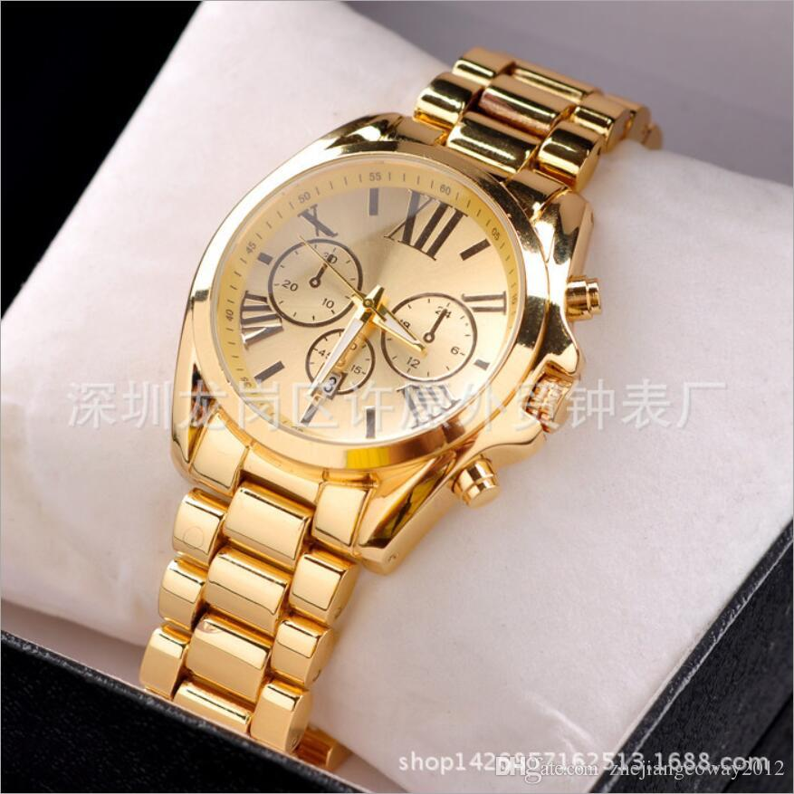 mens gold watches hot watches led watch mens business stainless steel metal belt rome dial gold  watch uktyltt