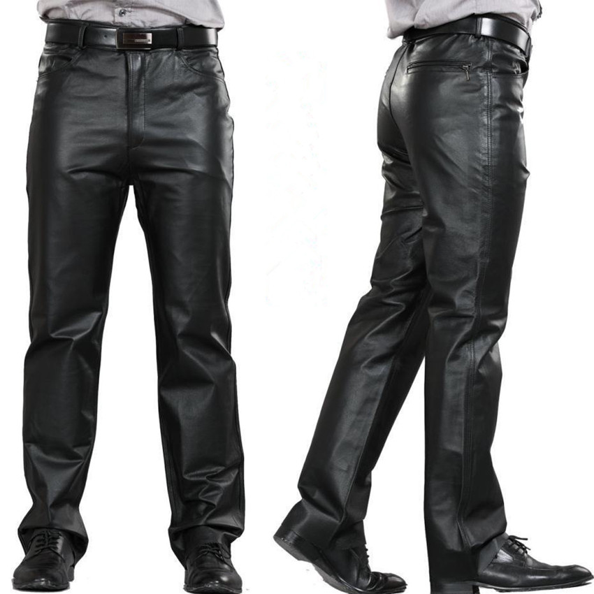 mens leather pants fashion leather pants men genuine leather straight pants m 7xl menu0027s plus  size flat alzxqae