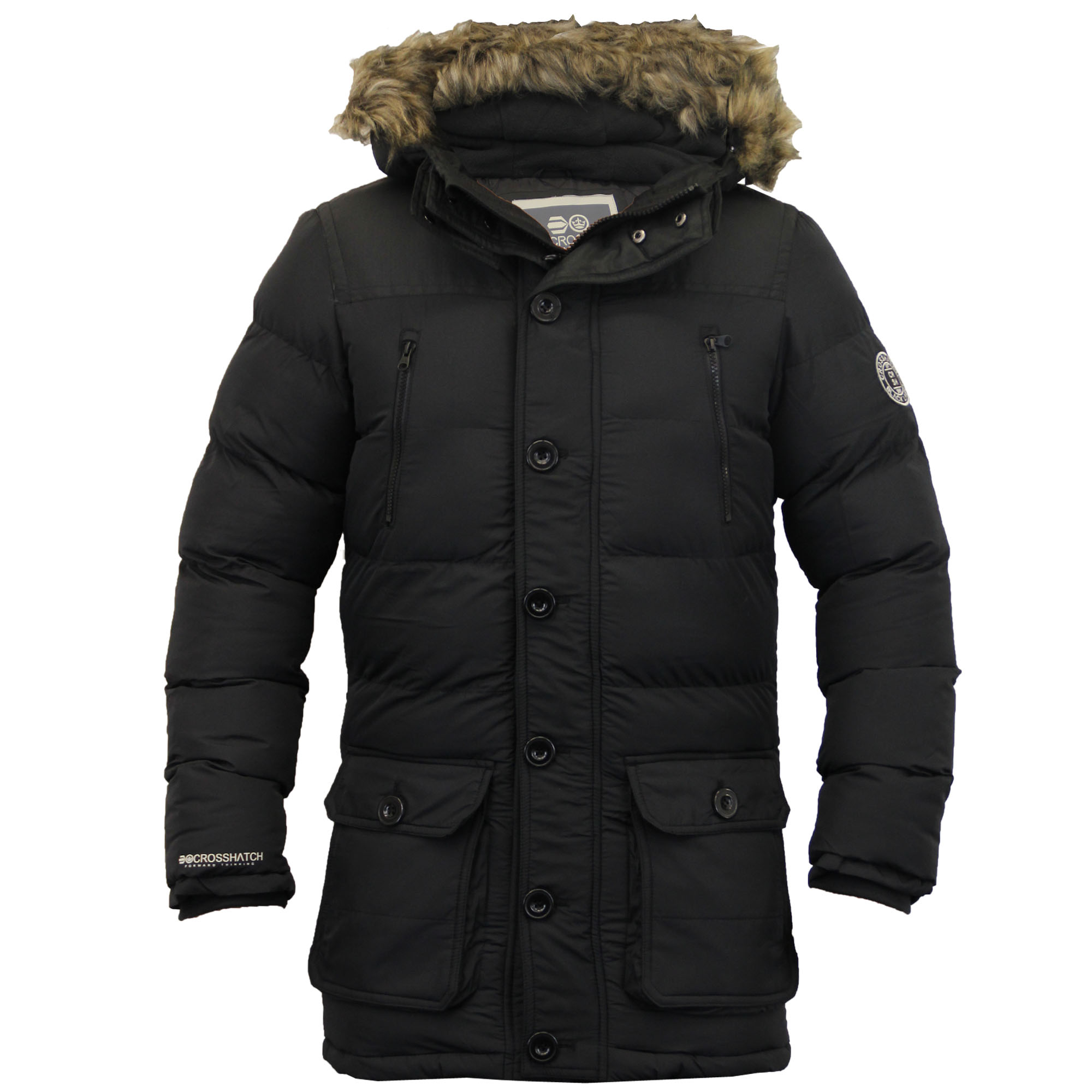 mens parka coats mens-parka-jacket-crosshatch-coat-hooded-padded-quilted- vehvrwq