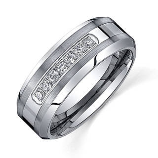 mens rings ever one menu0027s tungsten carbide 1/5ct tdw diamond comfort-fit band (8 gvhplna