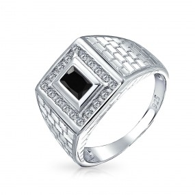 mens silver rings ... bling jewelry brick pattern rectangle cz mens engagement ring silver auvnjyx