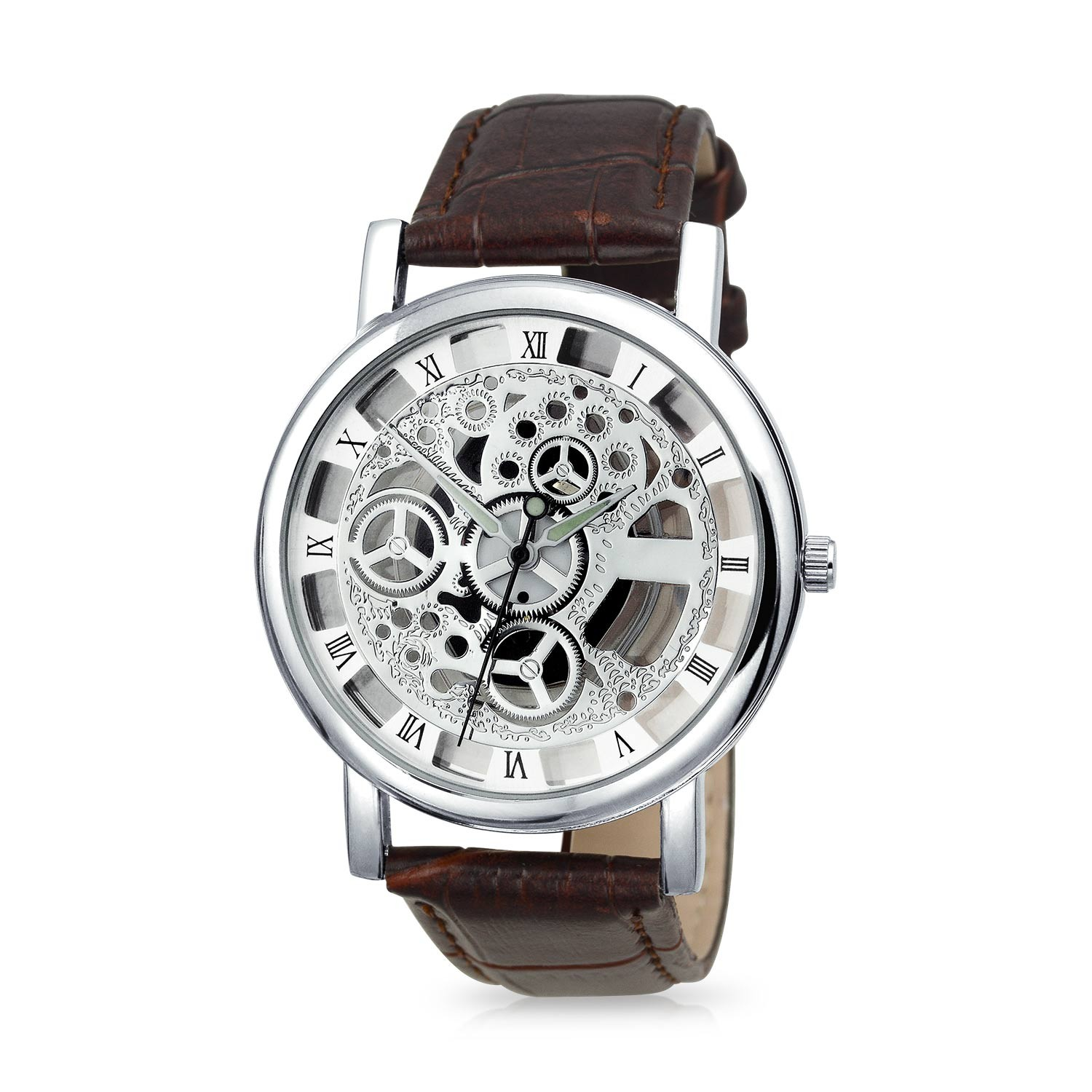 mens watches bling jewelry glass backing alloy skeleton mens leather watch qgaxzgt