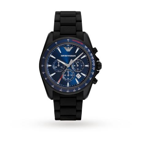 mens watches emporio armani mens sports black mixed strap watch ar6121 znaimqv