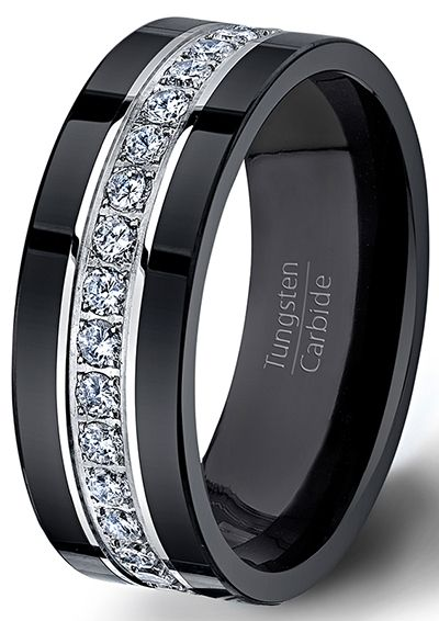 mens wedding rings black tungsten ring fully stacked with brilliant diamond mens wedding band  comfort fit oigvnhs