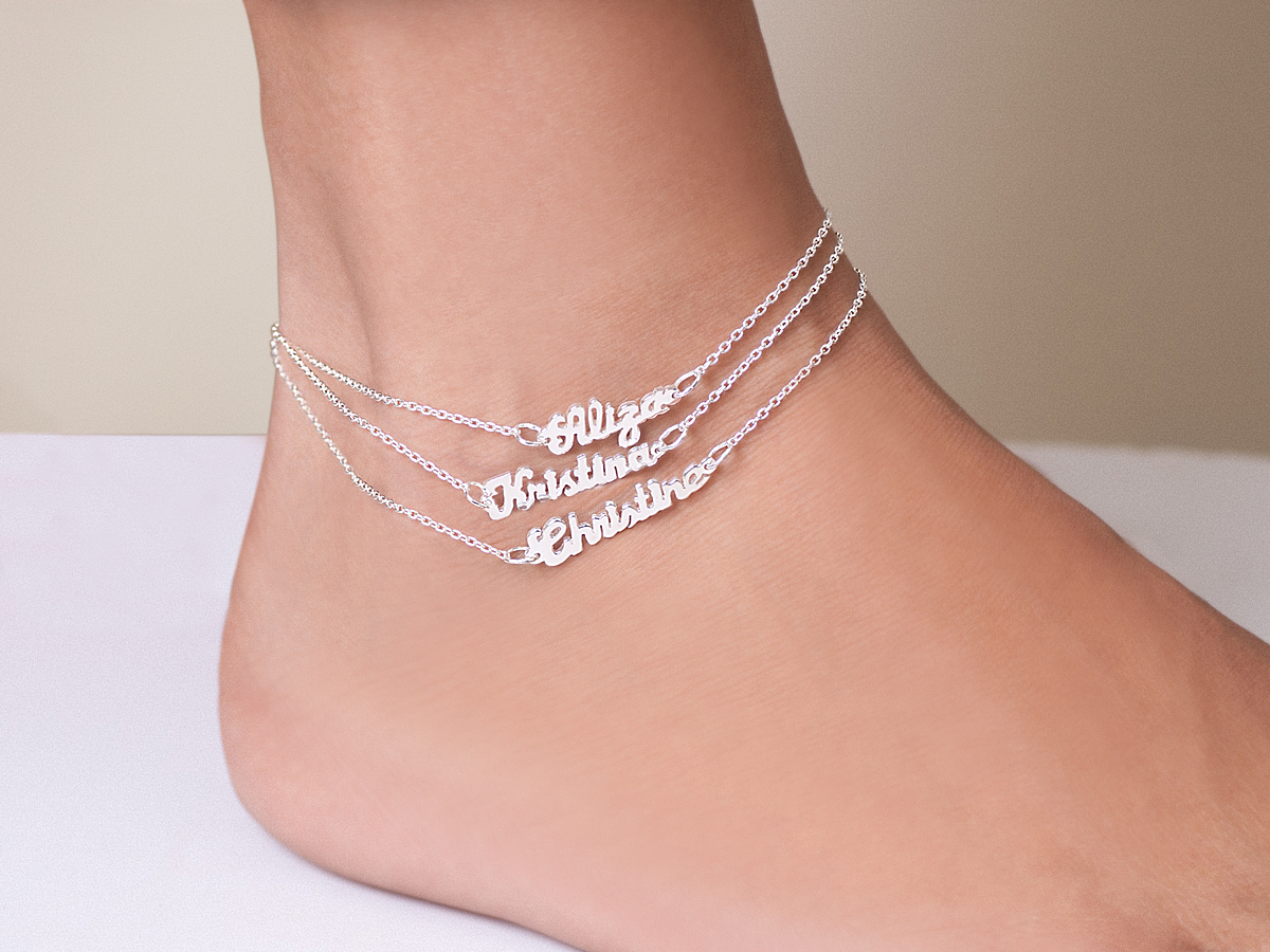 mini name plate ankle bracelets PCSYTOY
