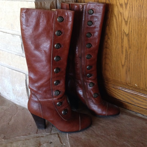 miz mooz boots miz mooz shoes - miz mooz henley brown edelweiss button boots 7.5 nyufuyb