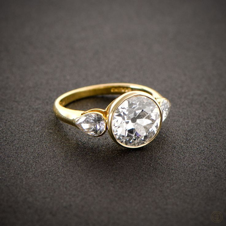 modern engagement rings a stunning english vintage engagement ring, bezel set in a beautiful yellow  gold setting abquqna