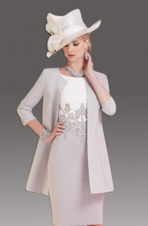 mother of bride outfits short fitted dress with matching coat. 008797 slmajwf