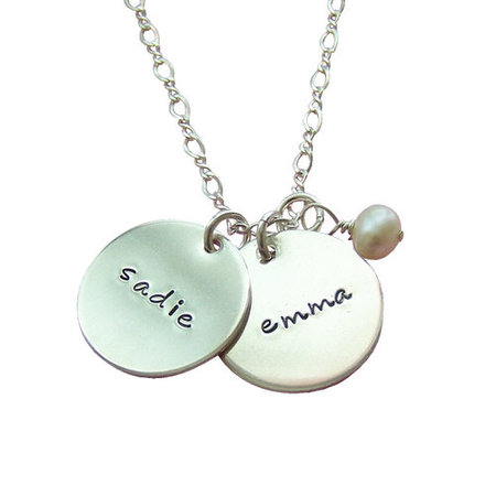 mothers jewelry silver two charm necklace iedpdzw