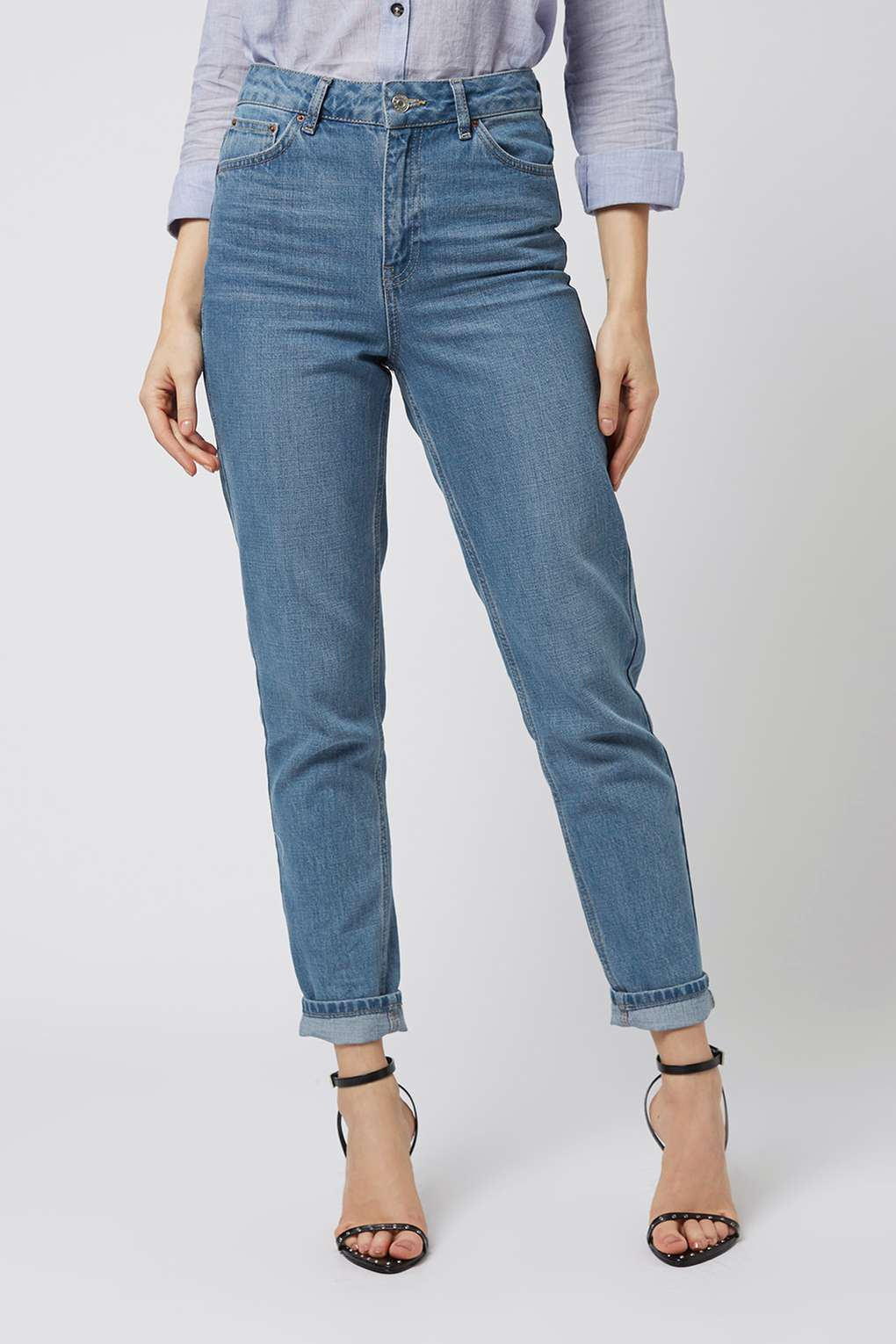 moto pretty blue mom jeans - topshop usa jxukxgb