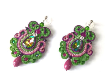 multicolor funky earrings, soutache earrings, statement jewelery,  fashionable long earrings, green violet oapmlpw