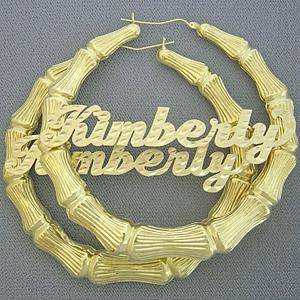 name earrings 10k bamboo personalized name hoop earring 3 3/8 inch ranfvqv