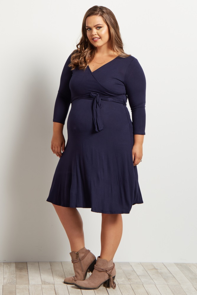 navy blue sash tie plus size wrap dress ... xvlwiub