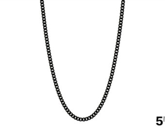 necklace chain menu0027s black chain necklace, 5mm black curb link chain, black cuban necklace,  womenu0027s dizstxt