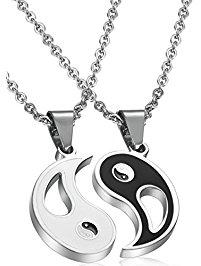 necklaces for men fibo steel 2pcs stainless steel yin yang pendant necklace for men women  puzzle couples edbxvgq