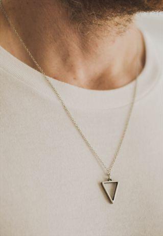 necklaces for men triangle chain necklace for men silver geometric pendant him wvgoadn