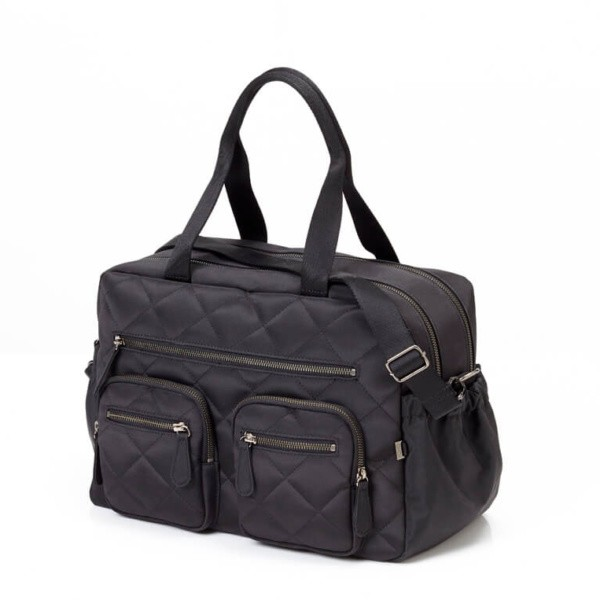 oioi quilted diamond black carry all nappy bag | pgjyuzv