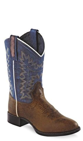old west boots old west blue youth boys oily leather round toe cowboy western boots cxvfxyx