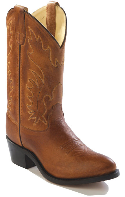 old west boots old west youth j-toe leather western boots - brown vmuuyyj