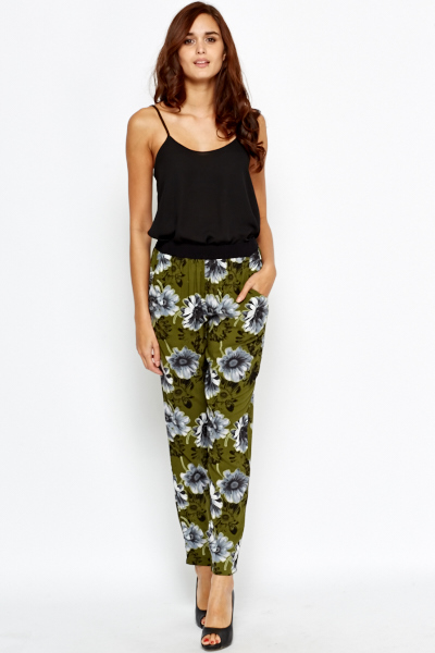 olive floral tapered trousers vlzhjse