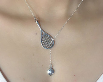on sale - tennis racket with ball lariat necklace - tennis jewelry - tennis xheypkg