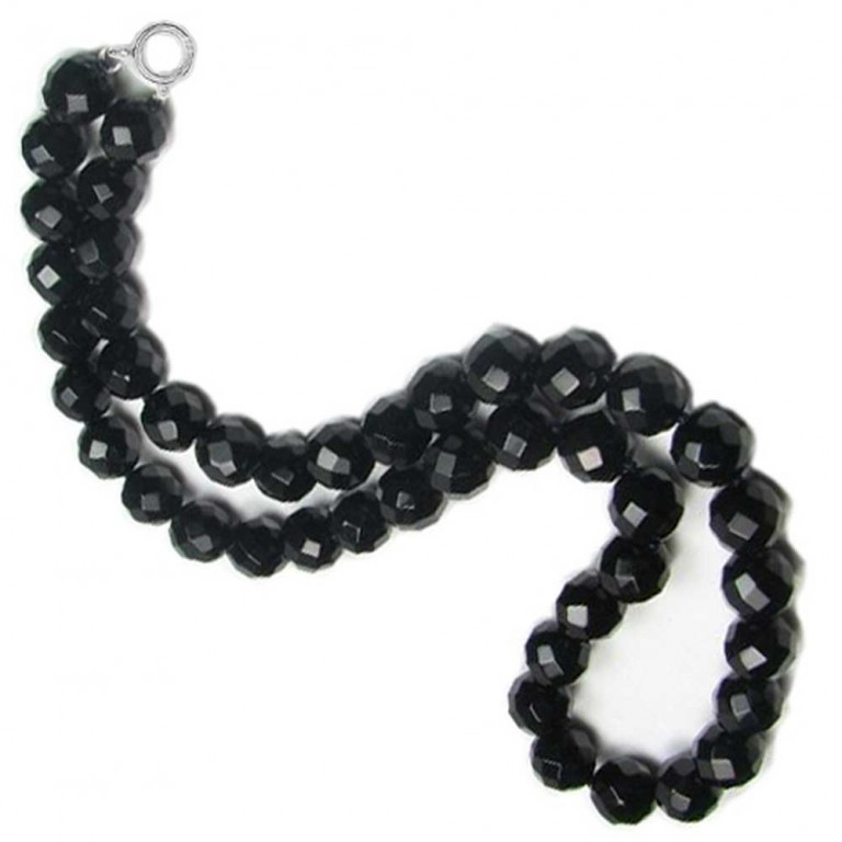 onyx necklace genuine black onyx faceted bead necklace 20in swmgmuz