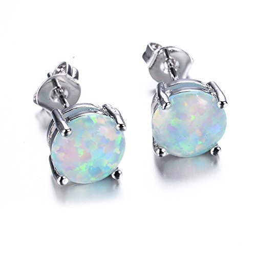 opal jewelry junxin jewelry fire white color round cut opal stud earring 7.5mm (white) tdspfqc