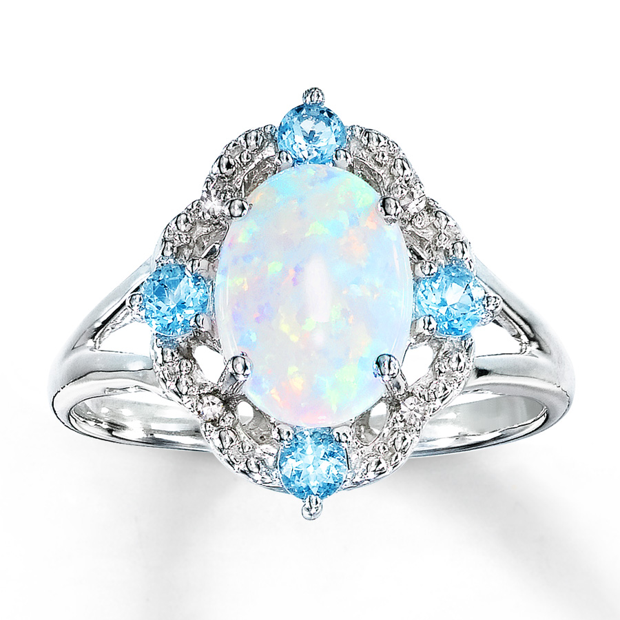 opal jewelry lab-created opal ring blue topaz u0026 diamonds sterling silver qinxvac