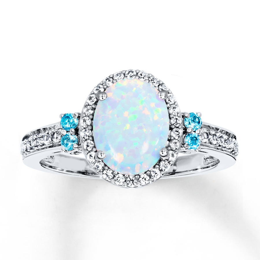 opal jewelry lab-created opal u0026 sapphire ring with topaz sterling silver xuytnix
