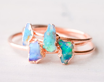 opal jewelry opal ring - australian opal ring - raw opal ring - rough opal ring - hxluitl