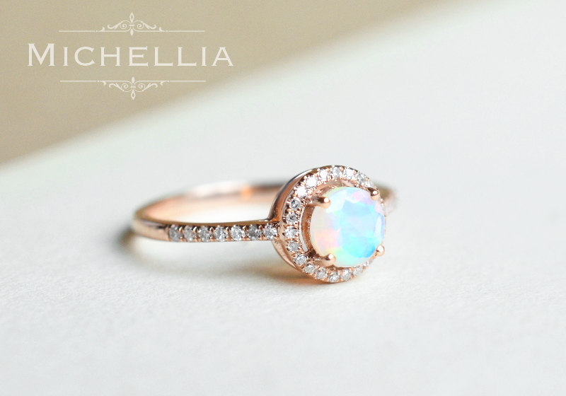 opal promise rings 14k/18k opal engagement ring with halo diamond, solid gold ethiopian fire opal  promise lqnwcpw