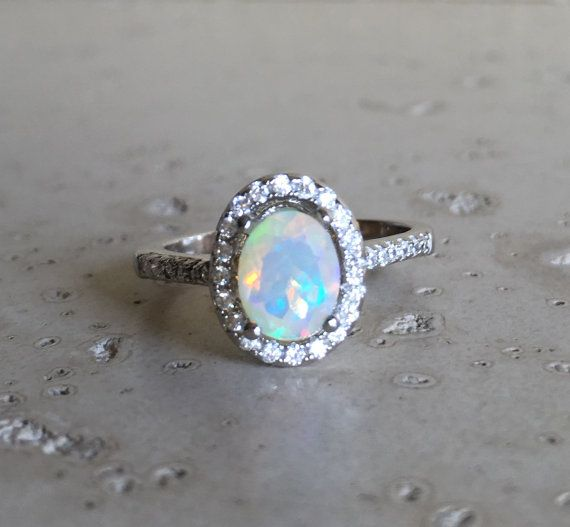 opal promise rings halo opal engagement ring- natural opal promise ring- oval opal wedding  bridal ring- october owvmdeq