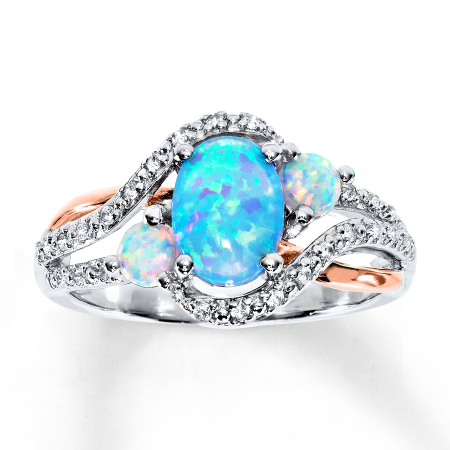 opal promise rings lab-created opal u0026 lab-created sapphire ring st. silver/10 gold ukayirx