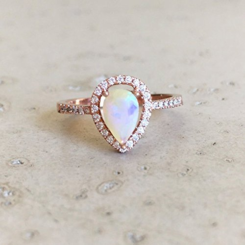opal promise rings rose gold opal engagement ring- halo pear shape opal ring- opal promise ring - njtelih