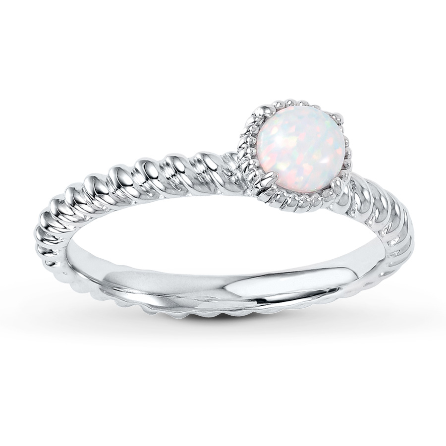 opal promise rings stackable ring lab-created opal sterling silver fskxlmc