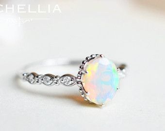 opal promise rings vintage pear opal engagement ring 14k 18k by michelliadesigns rsnxjhh