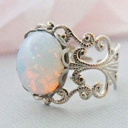 opal ring, opal jewelry, silver opal rings, adjustable white opal ring,  october birthstone aohcxhz