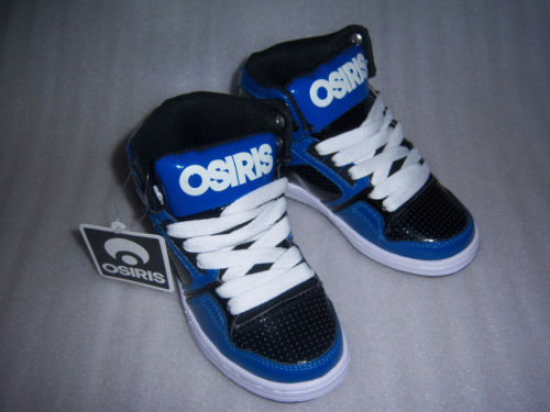 osiris shoes osiris boys or girls blue black purple high top skater shoes size 13~ 1~ ebzzljy