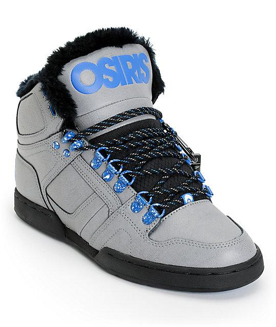 osiris shoes osiris nyc 83 grey, blue u0026 camp shearling shoes bavfjkp