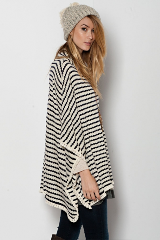 oversized striped poncho sweater ycxkgsm