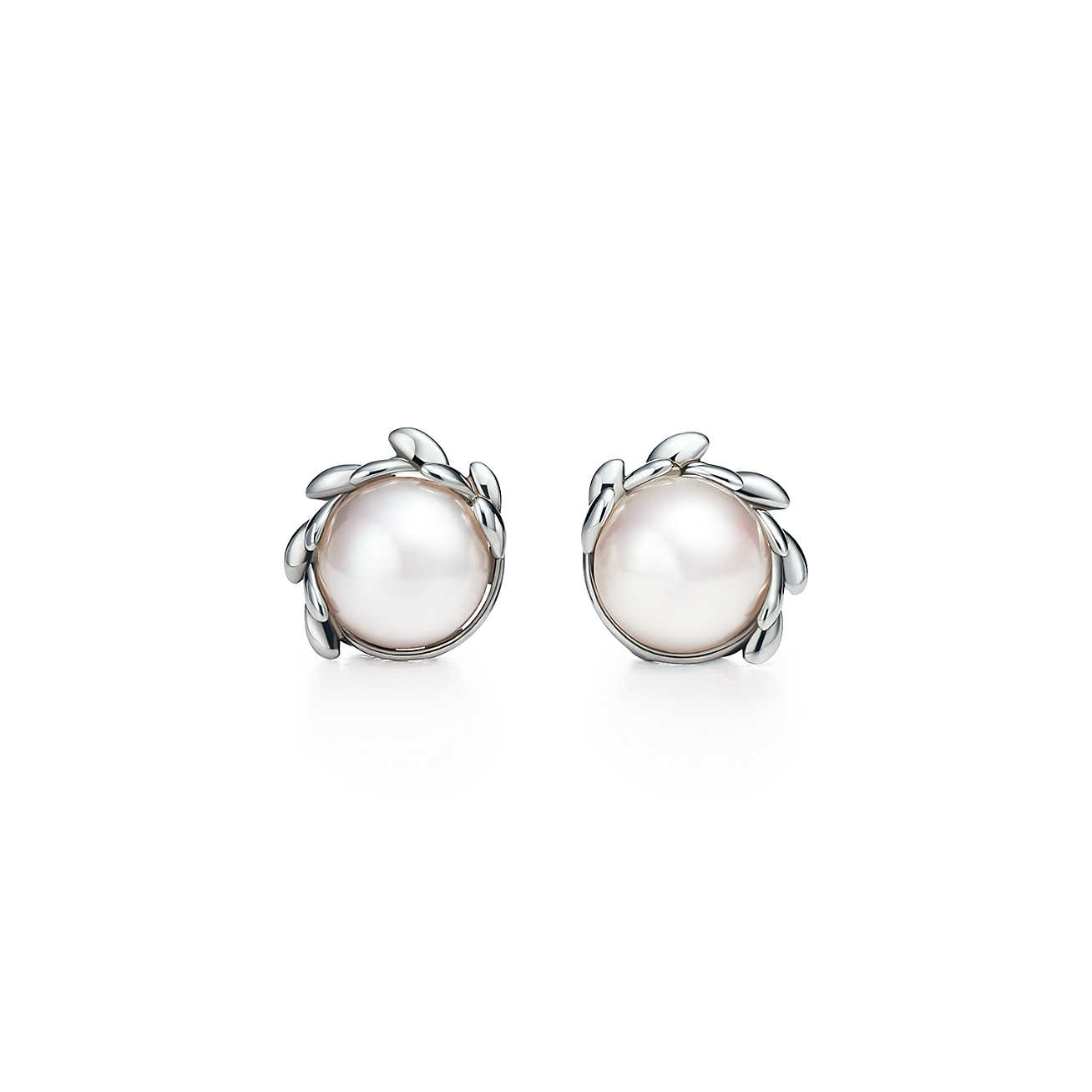 paloma picasso® olive leaf pearl earrings in sterling silver. | tiffany u0026  co. dzjhoap