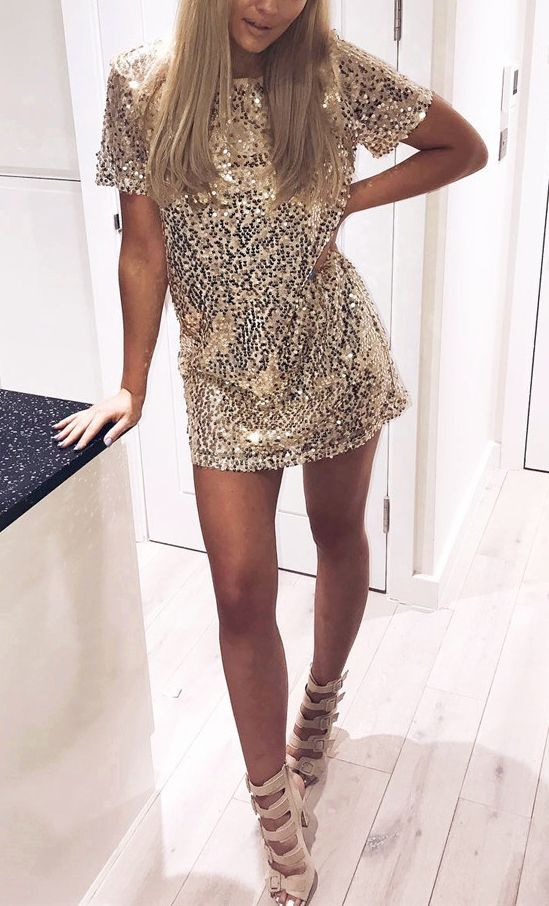 party clothes golden plain sequin round neck short sleeve evening party club mini dress tougeuf